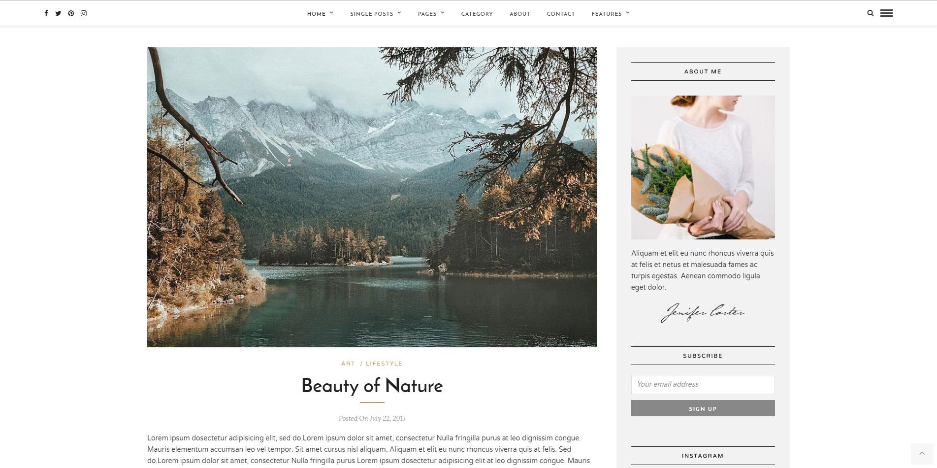 trendy web design 2018 - przykład bloga 2